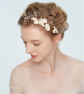 Fascia per capelli da sposa, con perle finte, in lega, dorata, realizzata a mano