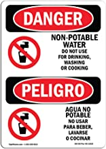 OSHA Danger Sign - Non-Potable Water No Drinking Bilingual | Vinyl Label Decal | Protect Your Business, Construction Site, Shop Area | Made in The USA
