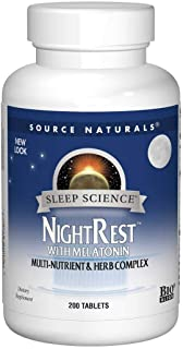 Source Naturals Sleep Science NightRest Multi-Nutrient & Herb Complex With Melatonin, GABA, Passion Flower, Chamomile, Lemon Balm & More - Herbal Formula - 200 Tablets