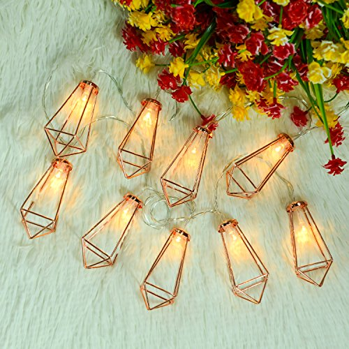 Omika 20 LED Rose Gold Geometric Fairy Lights - USB & Battery Powered, Boho Metal Cage Bedroom String Lights for Wedding Decorations Party Indoor Patio Camping Wall Decor, 10 Ft/3m