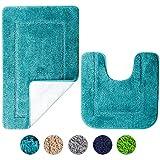 SOANNY Badematte 2er Set, weiche rutschfeste Mikrofaser mit hoher Dichte wasserabsorbierend Badezimmermatte, 53x86 cm Badezimmer Teppich & 50x50 cm Toilettenmatte, Duschvorleger Türkis