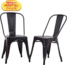 FDW Metal Dining Chairs Set of 2 Patio Chair Indoor Outdoor Chairs Kitchen Metal Chairs Restaurant Chair 18 Inch Seat Height Metal Stackable Chair 330LBS Weight Capacity Tolix Side Bar Chairs