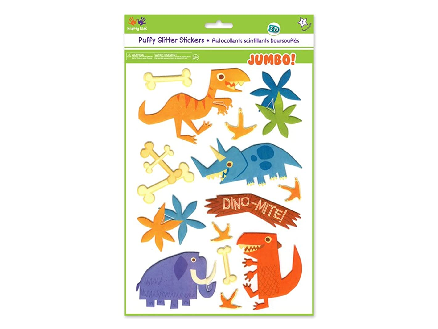 Krafty Kids KC768F Glitter Puffy Jumbo Stickers, Dino-Mite