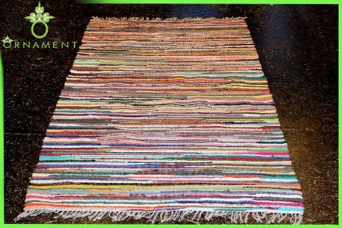ORNAMENT 240x170 cm Handgewebter Fleckerl Teppich 2 Seitig nu Kelim 2000g/m Baumwolle Flickenteppich NEU