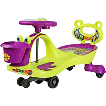 BabyGo Baby Hoopa Swing Magic Car Ride On for Kids with Music Light and Buck Support (Purple and Neon Green)…