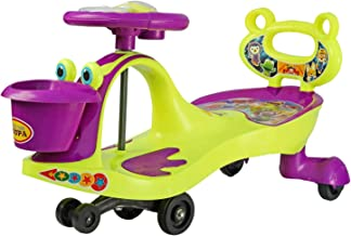 BabyGo Baby Hoopa Swing Magic Car Ride On for Kids with Music Light and Back Support (Purple and Neon Green)…