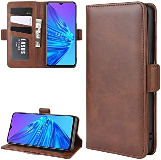 カード財布財布機能(ブラック)付きOppo Realme 5ダブルバックルクレイジーホースビジネス携帯電話ホルスター HDJ (Color : Brown)