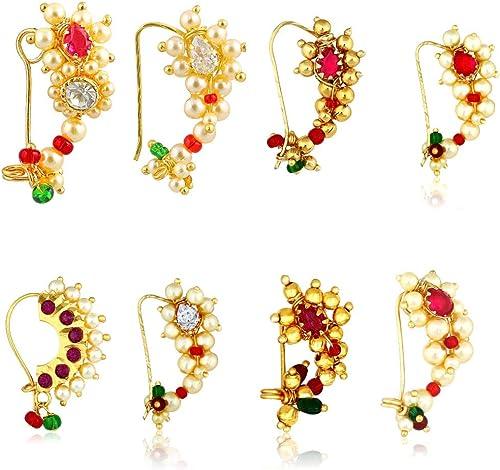 Maharashtrian Traditional Pearl Temple Jewellery marathi Banu Nathiya Nose pin Nath Nose Ring for Wedding Women Girls Latest design Combo Gold Press pin Non pierced 8 pcs NATH COMBO 150