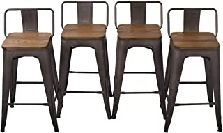 YongQiang Metal Barstools Set of 4 24 inch Kitchen Dining Counter Stool with Wood Seat Rusty Low Back