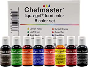 Chefmaster - Liqua-Gel Food Coloring - Fade Resistant Food Coloring - 8 Pack - Vibrant, Eye-Catching Colors, Easy-To-Blend...