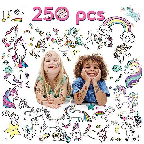 VCOSTORE Tatuajes temporales de Unicornio para niños, Pegatina de Unicornio Impermeable no tóxica de 250 Estilos (20 Hojas)