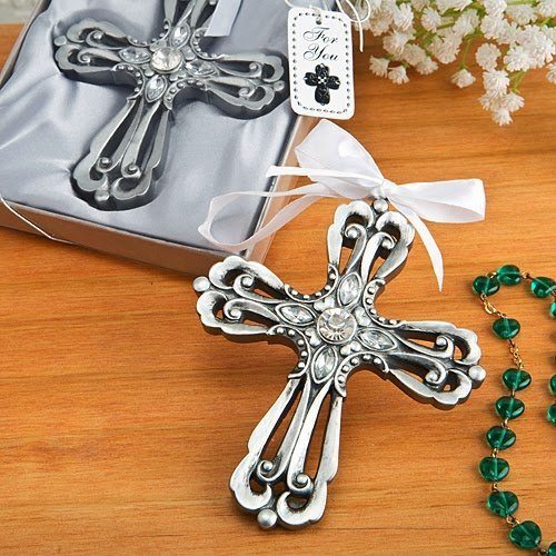 50 Silver Cross Ornament with Antique Finish from Fashioncraft by Fashioncraft