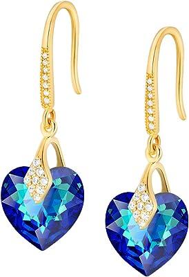 Crystals&Stones – Orecchini a forma di cuore in argento 925 placcato oro 24 K – Bermuda Blue – Orecchini con cristalli Swarovski® – Bellissimi orecchini da donna – Orecchini con scatola regalo