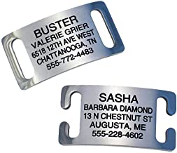 LuckyPet Slide-On Pet ID Tags, Personalized Dog and Cat Tags in 3 Sizes, Silent, Chew-Proof Collar Tags Made of Stainless Steel, Custom Engraved, Fits Buckle Style or Snap Style Collars, Curved to Fit