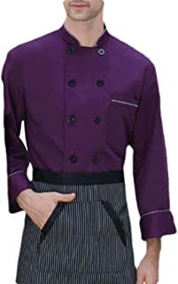 Abeaicoc Men Casual Double-Breasted Slim Chef Jacket Kitchen Cook Coat Stripe Uniforms