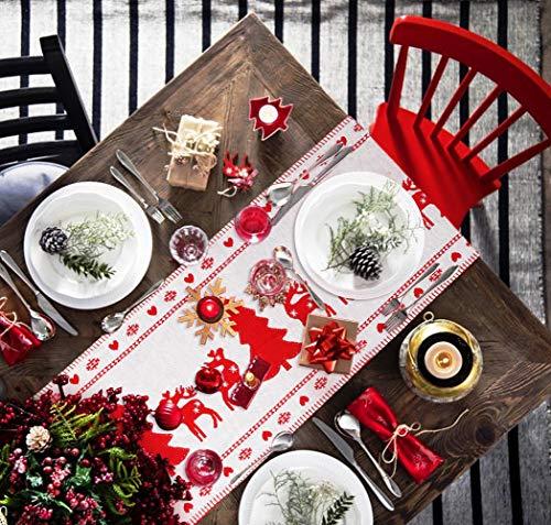 Idefair Camino de Mesa navideño con borlas, Mantel para Mesa de Navidad Lavable Resistente a Las lágrimas para Bodas Familiares Banquetes cenas Fiestas