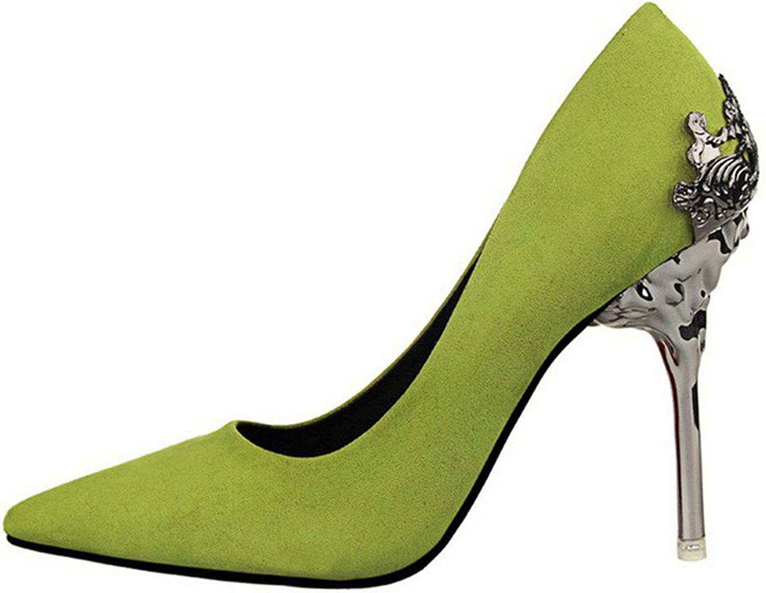 Lady's Pointed-toe pump shoes Green color