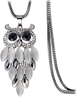 Eulen Halskette Silber Eule Kette Kristall Halskette Frauen Damen Dame Frau
