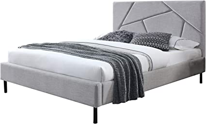 Alaska - Juego de cama doble de tejido gris + colchón 160 x ...