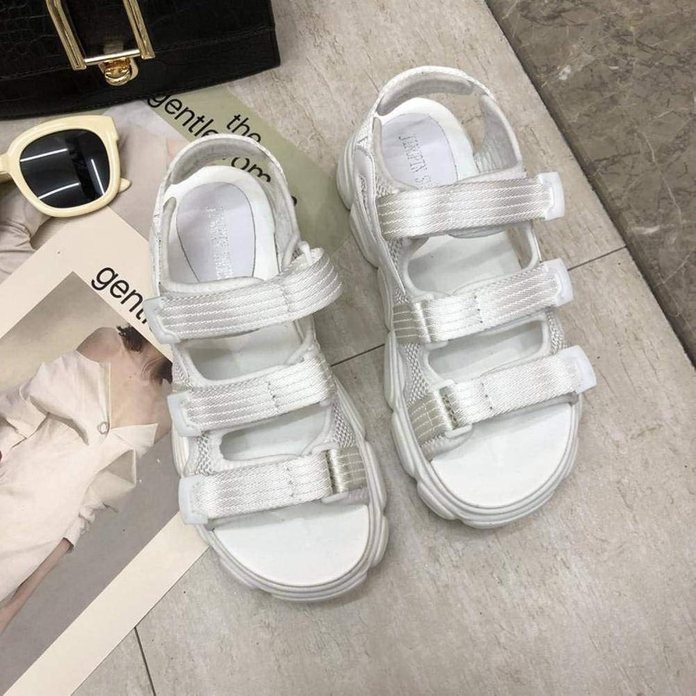 Women's Ladies Casual Lightweight Sandal shoes Slim Buckle MidHeel Summer Beach Open Toe Flatform Rubber Sole Pu Sandal Flip Flops for Women, LX