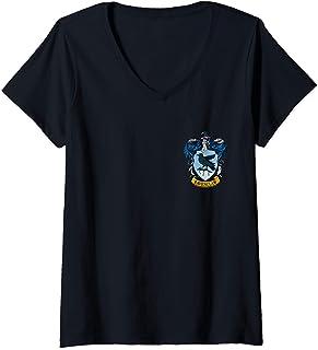 Femme Harry Potter Ravenclaw Pocket Print T-Shirt avec Col en V
