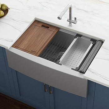 "Ruvati Verona RVH9200 33"" Apron-front Workstation Farmhouse Single Bowl Kitchen Sink, Stainless Steel, 16 Gauge"