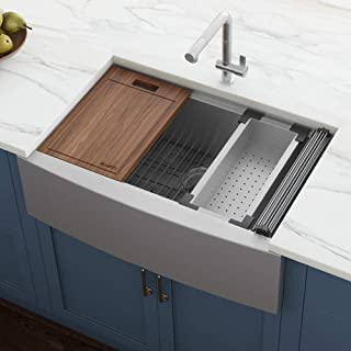 "Ruvati Verona RVH9200 33"" Apron-front Workstation Farmhouse Single Bowl Kitchen Sink, Stainless Steel, 16 Gauge"