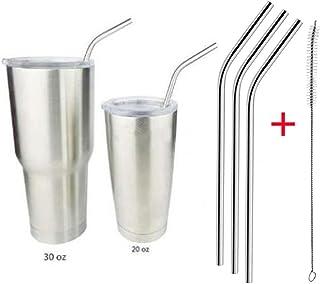 Sonmer Stainless Steel Metal Reusable Drinking Straws(Pack of 3) + 1 Cleaner Brush