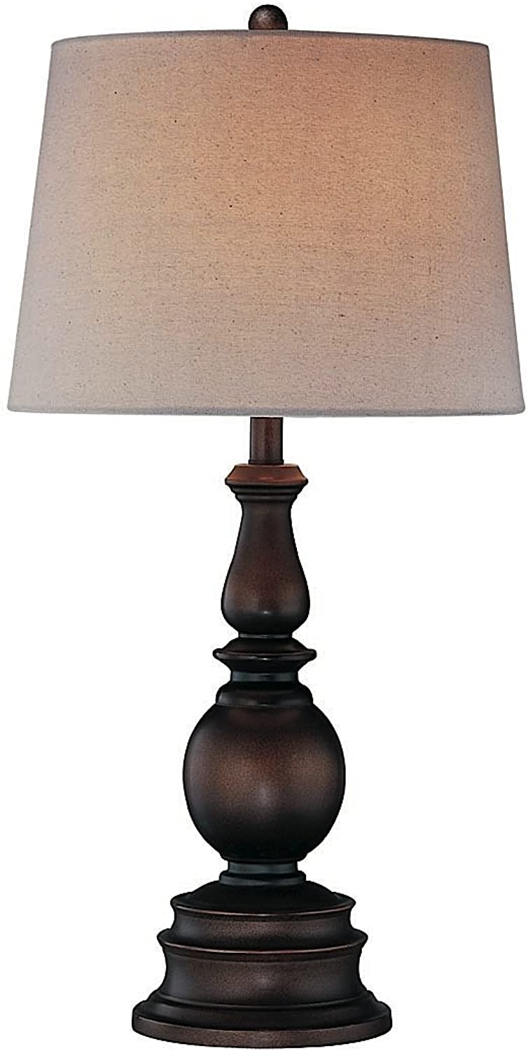 Lite Source LS-20847D BRZ Traditional Breyon Table Lamp, Dark with Linen Fabric Shade, 30.5  x 15.5 , Bronze