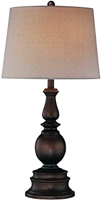 "Lite Source LS-20847D/BRZ Traditional Breyon Table Lamp, Dark with Linen Fabric Shade, 30.5"" x 15.5"", Bronze"