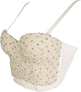 GainKee Hand-Made Pearls Bustier Bra Corset Top Bralet Clubwear Cropped Top Vest