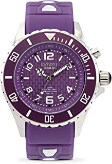 KYBOE! Power Stainless Steel Quartz Watch with Silicone Strap, Purple, 20 (Model: KY.40-040.15)