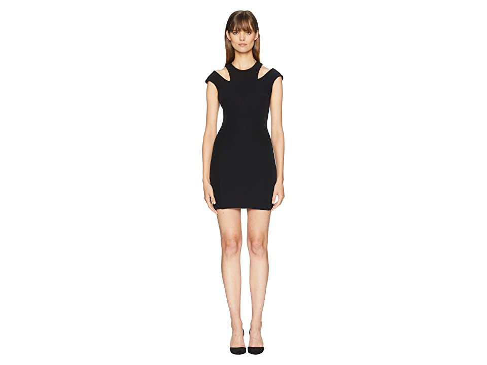 Versace Collection Cut Out Shoulders Cap Sleeve Dress (Black) Women