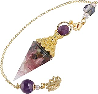 Nupuyai Chip Stones Orgone Crystal Pendulum for Dowsing Divination Reiki, Hand Carved Healing Point Pendant with Yoga Bead...