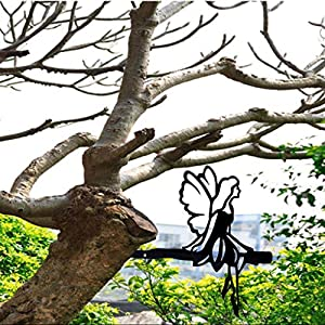 uoeo metal fairy on a branch tree art steel fairy decoration silhouettes for outdoor garden yard decoration creative decor gift