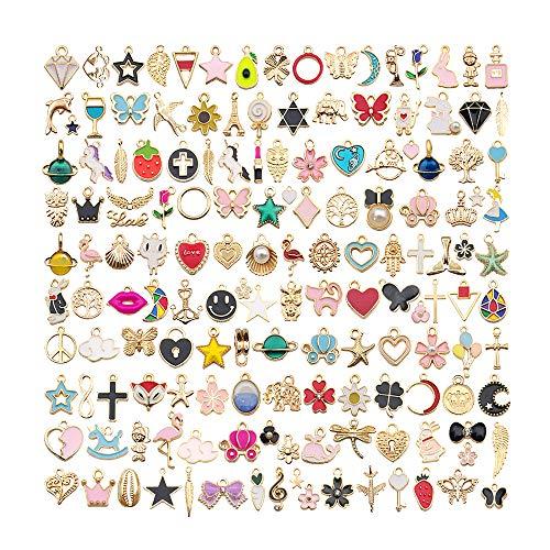 IWILCS 150PCS Colgantes de dijes Mixtos, Juego de Plata tibetana, Accesorios para Llaves Hechos a Mano, Dijes de Collar de Bricolaje para Hacer y fabricar Joyas (Color)