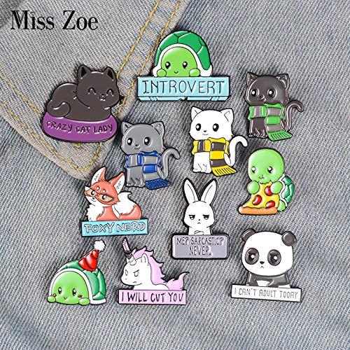 XUEKE Cartoon Animal Enamel Pins Custom Panda Cat Turtle Fox Rabbit Brooches Bag Clothes Lapel Pin Badges Funny Zoo Jewelry