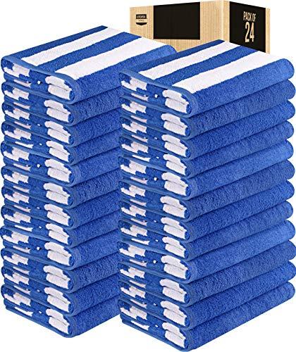Utopia Towels Cabana Stripe Beach Towels, 30 x 60 Inches - Large Pool Towels (Bulk Pack of 24, Blue)