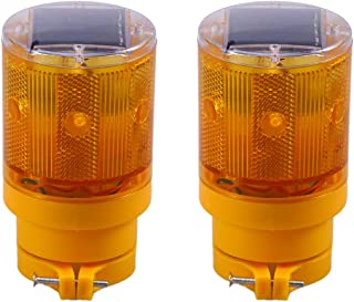 2pcs Solar Traffic Light Flashing Barricade Emergency Strobe Warning Light Wireless Safety Road Construction Beacon Lamp (Orange)