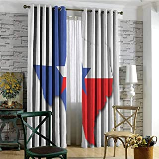 Texas Star Blackout curtains - gasket insulation Outline of the Texas Map American Southwest Austin Houston City Blackout curtains for the living room W84 x L84 Inch Vermilion White Violet Blue