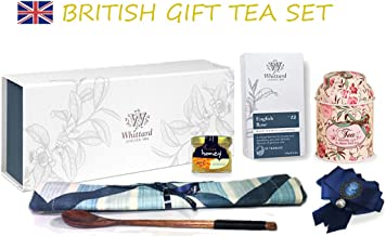 Whittard Chelsea London English ROSE 50 Black & floral flavours Teabags BRITISH Gift Luxury BOX | Tea Spoon & Tea Towel | Queen Brooch | Tea storage Box | Honey jar