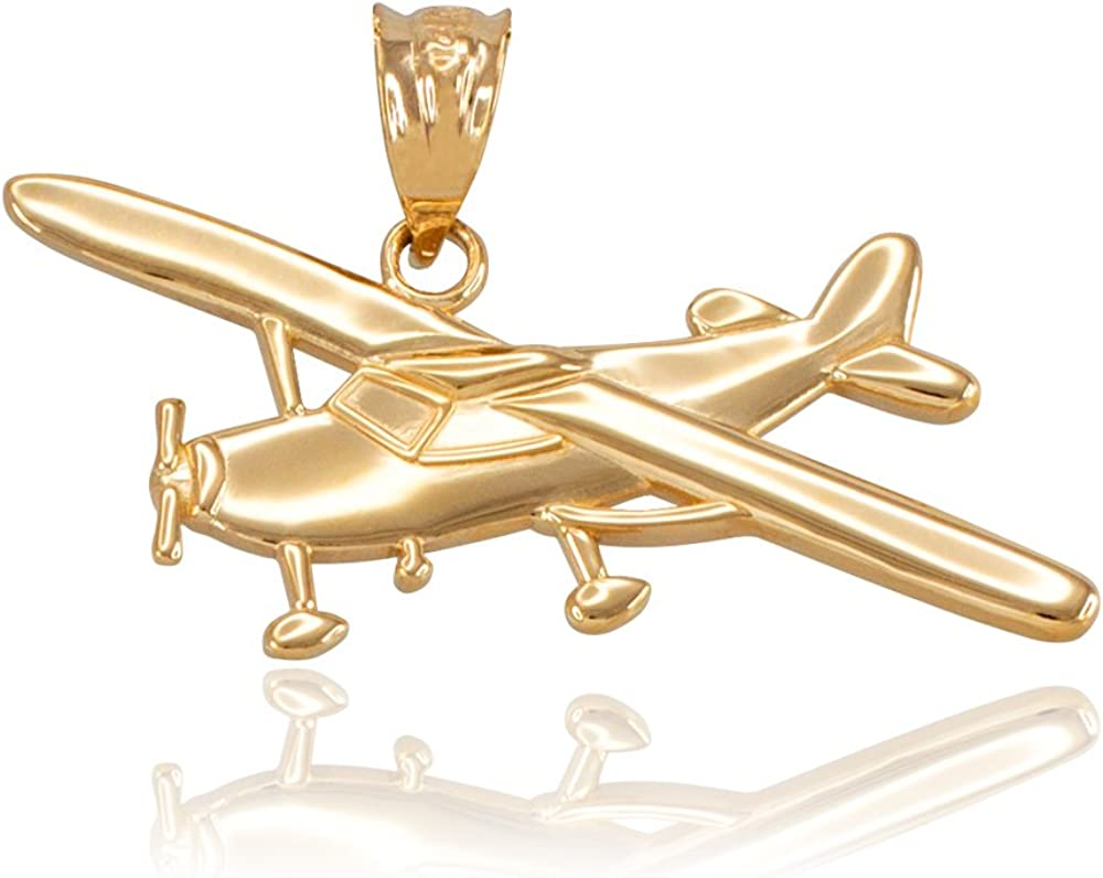 Space and Aviation Polished 14k Yellow Gold Airplane Aircraft Charm Pendant