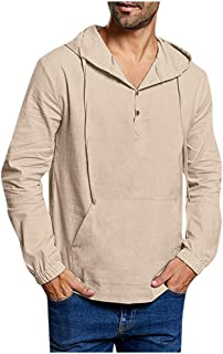 Sudadera con Capucha de Lino para Hombre Hoodie de Manga Larga Camisas Henley Color Sólido Sueltas Casual Tops con Bolsill...