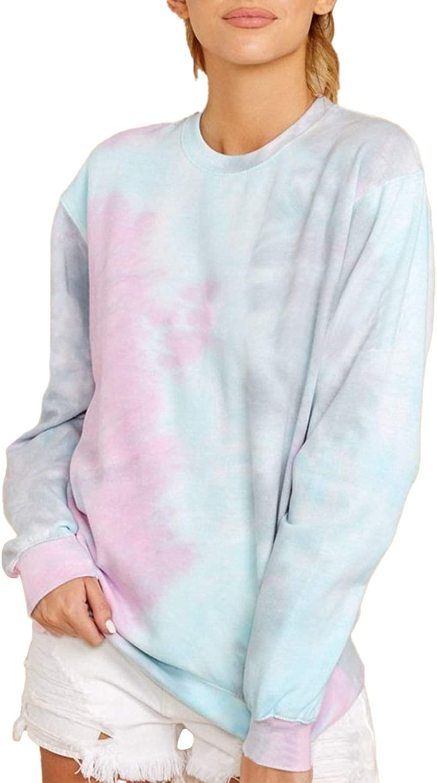 Women's Tie Dye Long Sleeve Crew Neck Pullover Sweatshirts
