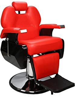 BarberPub Heavy Duty Reclining Barber Chair All Purpose Hydraulic Salon Chair for Barbershop Stylist Tattoo Chair 2687 (Red)