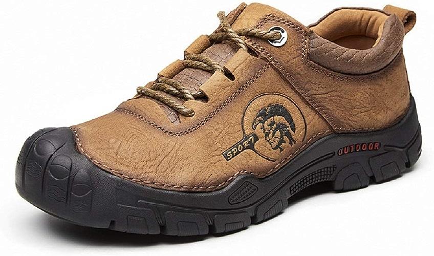 Fuxitoggo Sports de Plein air pour Hommes, Chaussures de randonnée, Cuir antidérapant, Chaussures en Cuir Mat, Plateforme (Couleuré   Marron, Taille   EU 44)