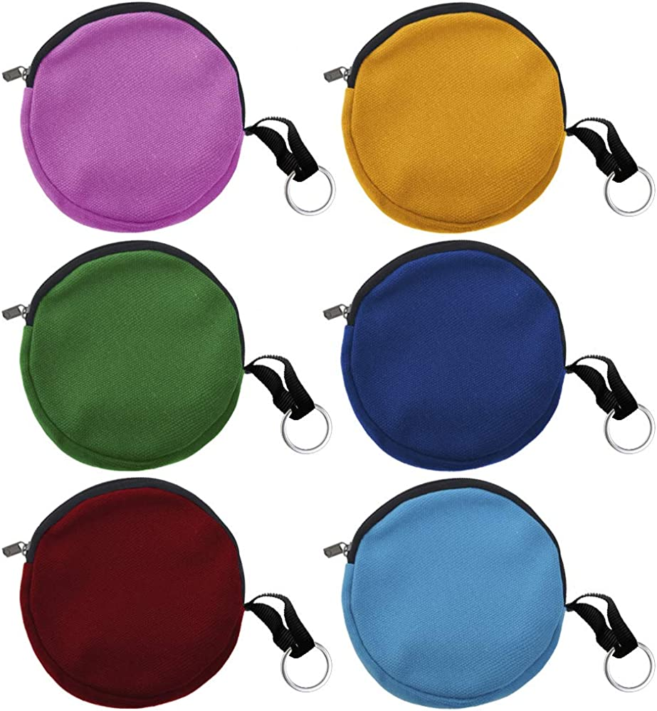 Muka 6-Pack Round Keychain Pouches, Cotton Canvas Ear Bud Case Mixed Colors: Shoes