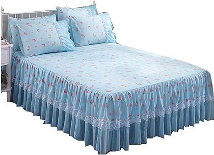 ブルー 韓式清新風 いちご模様 ベッドスカート3点セット ベッドスカート 枕カバー 120*200+45cm セミダブル