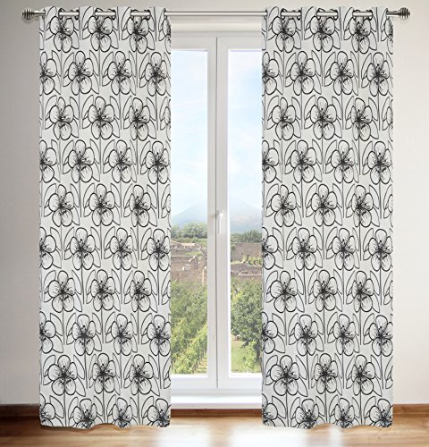 LJ Home Fashions Tania Faux Silk Vintage Floral Grommet Curtain Panels (Set of 2), 54x95-in, Silver Grey/Black