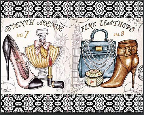 MINCOCO Aangepaste behang 3d muurschildering portemonnee cosmetica schoenen met hoge hakken achtergrond muurschildering portret muurschildering 3d behang 250 x 175 cm.